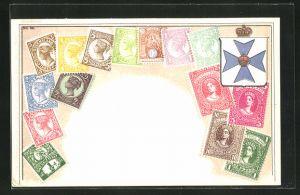 Präge-AK Queensland, Briefmarken und Wappen