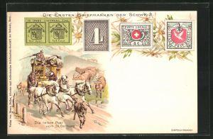 Lithographie Die letzte Post vom St. Gotthard, Die ersten Briefmarken der Schweiz