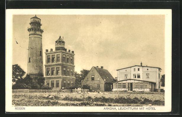 AK Rügen, Arkona, Leuchtturm mit Hotel