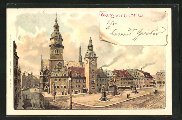 Künstler-AK Erwin Spindler: Chemnitz, Strassenpartie mit Gebäudeansicht