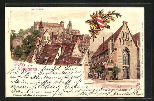Künstler-AK Erwin Spindler: Nürnberg, Kgl. Burg, Bratwurst-Glöcklein