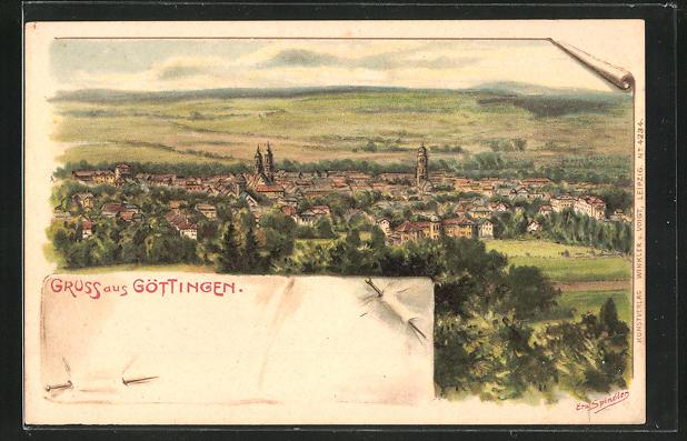 Künstler-AK Erwin Spindler: Göttingen, Ortsansicht
