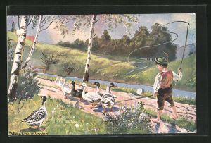 Künstler-AK Ermenegildo Carlo Donadini: Junge mit Peitsche hütet die Gänse