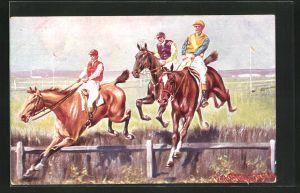Künstler-AK Ermenegildo Carlo Donadini: Drei Jockeys auf Rennpferden überspringen eine Hürde