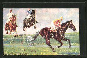 Künstler-AK Ermenegildo Carlo Donadini: Drei Jockeys auf Rennpferden überspringen einen Graben