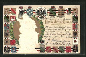 Präge-Lithographie Ein deutscher Gruss, Wappen von Schwarzburg, von Waldeck-Pyrmont, etc.