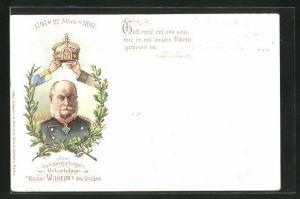 Lithographie Zum 100 jährigen Geburtstag Kaiser Wilhelm des Grossen 1897