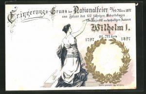 Präge-Lithographie Nationalfeier 1897 aus Anlass des 100 jähr. Geburtstages Kaiser Wilhelm I.