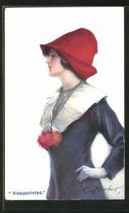 Künstler-AK Court Barber: Disappointed, junge Dame mit rotem Hut