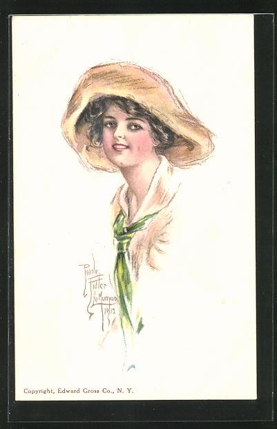 Künstler-AK Pearle Fidler LeMunyan: American Girl No. 27, Mädchen mit Hut