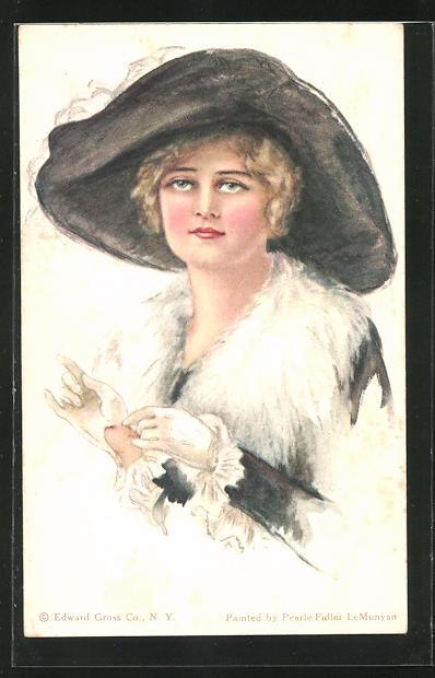 Künstler-AK Pearle Fidler LeMunyan: American Girl No. 53, Fräulein mit Hut und Handschuhen