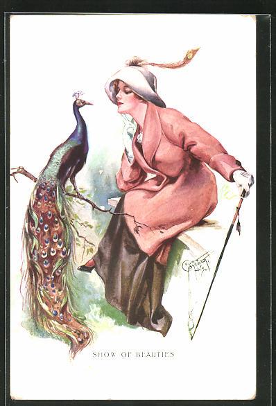 Künstler-AK Court Barber: Schow of Beauties, Junge Dame mit Hut und Stock sitzt einem Pfau gegenüber