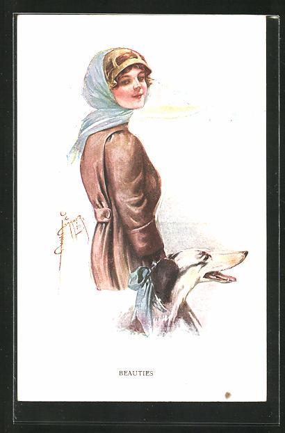 Künstler-AK Court Barber: Beauties, Junge Dame mit Schal im Mantel und einem Hund