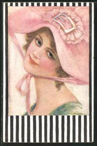Künstler-AK de Godella: Junge lächelnde Frau mit einem rosafarbenen Hut