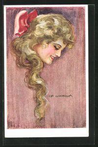 Künstler-AK de Godella: Junge Dame mit langen Haaren und Schleife