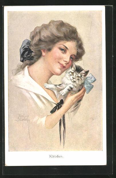 Künstler-AK Ruab Gnischaf: Kätzchen, Junge Dame mit einer kleinen Katze