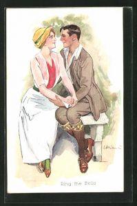 Künstler-AK Ernst Heilemann: Ring the Belle, Dame mit Hut und einem Herrn im Park