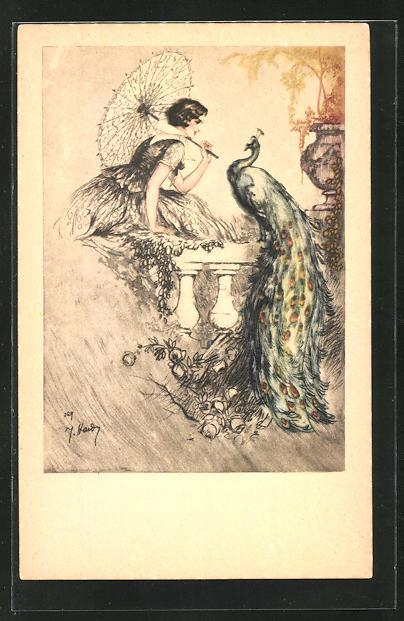 Künstler-AK J. Hardy: Dame mit Schirm sitzt einem Pfau gegenüber