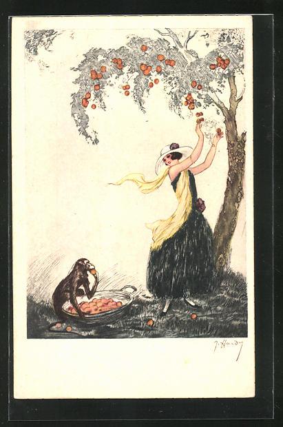 Künstler-AK J. Hardy: Dame mit einem Affen an einem Obstbaum