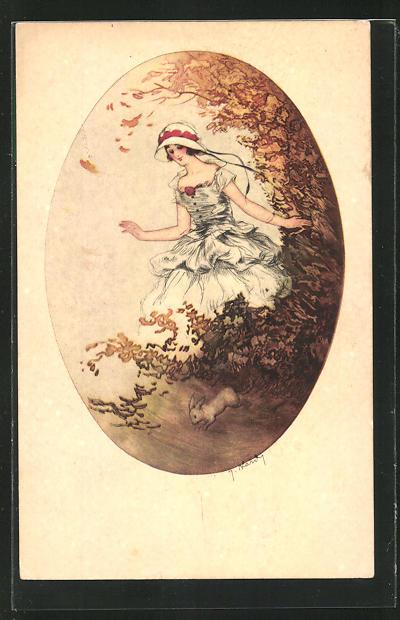 Künstler-AK J. Hardy: Junge Dame mit einem Kaninchen in einem Park im Herbst