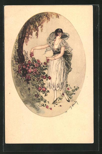 Künstler-AK J. Hardy: Junge Frau mit Blumen im Park