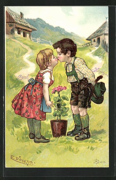 Künstler-AK E. Döcker: Junge und Mädchen in Trachten küssen sich auf einer Wiese