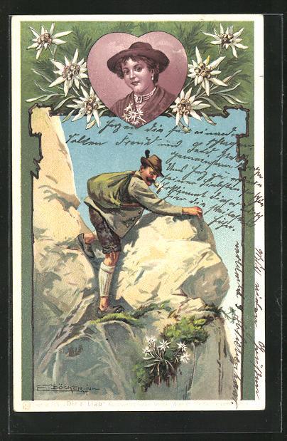 Künstler-AK E. Döcker: Bergsteiger mit Hut auf einem Felsen, Portrait einer Dame im Herz