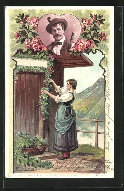 Künstler-AK E. Döcker: Frau in Tracht schmückt die Tür mit Blumen, Portrait Mann mit Hut und Gewehr