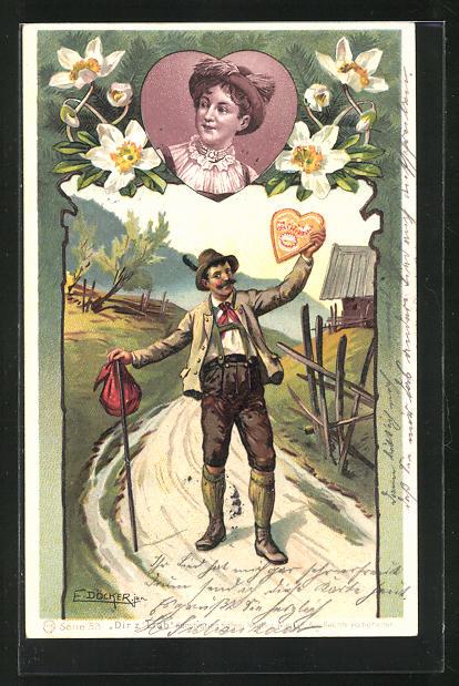 Künstler-AK E. Döcker: Mann in Tracht hält einer Herz in der Hand, Portrait Frau im Herz