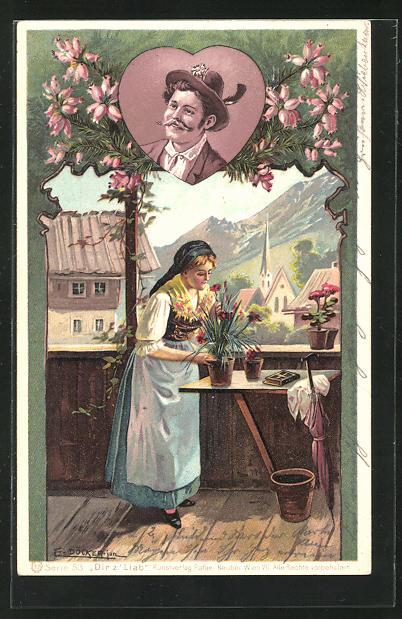 Künstler-AK E. Döcker: Frau in Tracht mit Blumentopf auf der Veranda, Portrait Mann mit Schnauzbart u. Hut