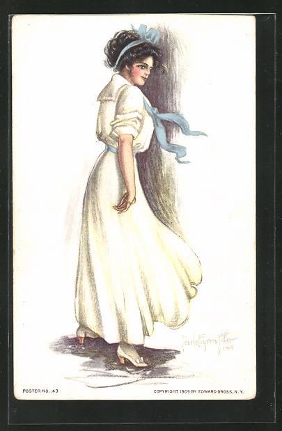 Künstler-AK Pearle Fidler LeMunyan: Dame mit Haarband im weissen Kleid