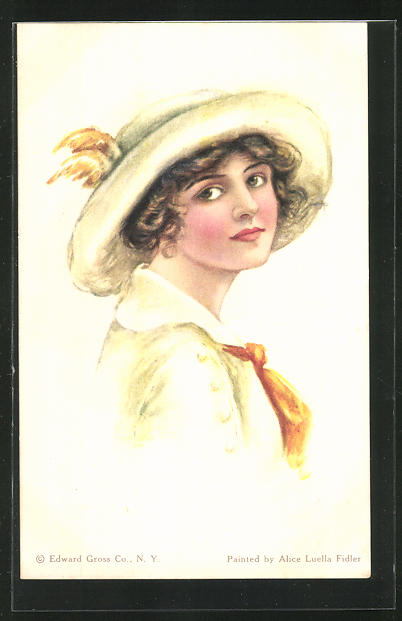Künstler-AK Alice Luella Fidler: Junge Dame mit Hut und Halstuch