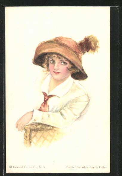 Künstler-AK Alice Luella Fidler: Junge Dame mit Hut auf einem Stuhl sitzend