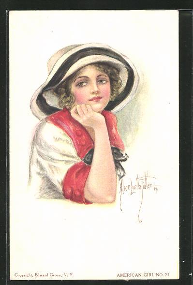 Künstler-AK Alice Luella Fidler: Junge Dame mit einem Hut und aufgestütztem Kopf