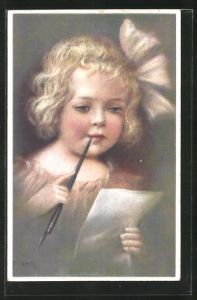 Künstler-AK Elly Frank: Aller Anfang ist Schwer, Kleines Mädchen mit Federhalter und Papier