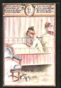 Künstler-AK Elly Frank: Mädchen sitzt im Kinderbett und betet