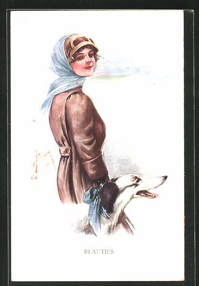 Künstler-AK Court Barber: Frau mit Windhund beim Spaziergang