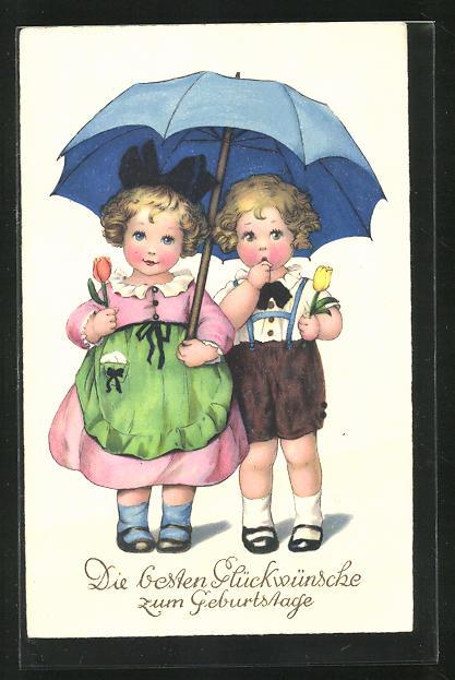 Künstler-AK Lia Döring: Kinder mit Tulpen und Regenschirm gratulieren zum Geburtstag