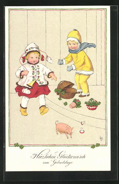 Künstler-AK Lia Döring: Kinder gratulieren mit Glücksschwein und Glücksklee zum Geburtstag