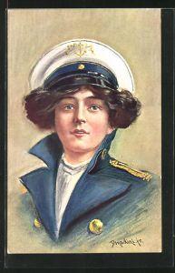 Künstler-AK Ermenegildo Carlo Donadini: Junge Frau in Marineuniform