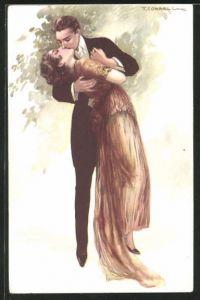 Künstler-AK Tito Corbella: Paar im innigen Kuss vereint