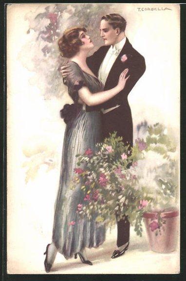 Künstler-AK Tito Corbella: Elegantes Paar in inniger Umarmung