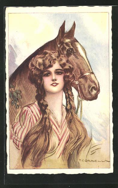 Künstler-AK Tito Corbella: Junge Frau mit Pferd