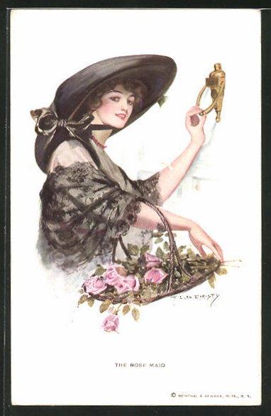 Künstler-AK F. Earl Christy: Blumenmädchen klopft an die Tür, The Rose Maid