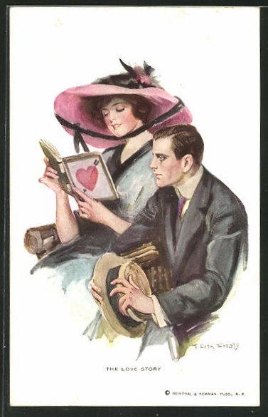 Künstler-AK F. Earl Christy: Frau liest aus einem Liebesroman vor, The Love Story