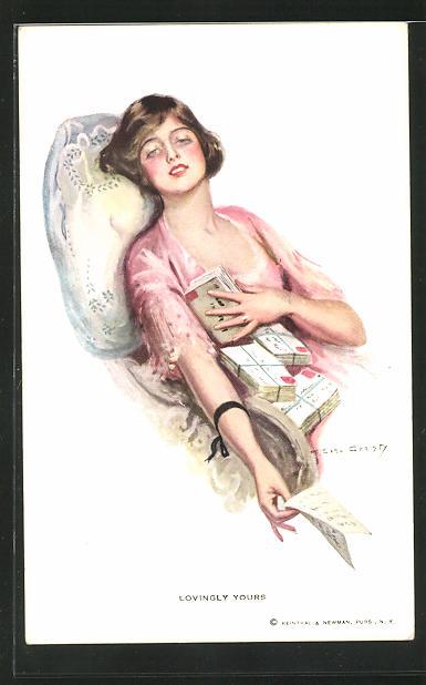 Künstler-AK F. Earl Christy: Junge Frau hält Stapel von Briefen in der Hand