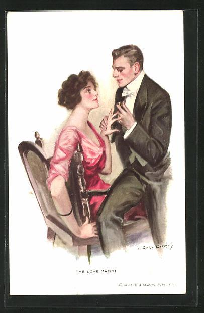 Künstler-AK F. Earl Christy: Paar in angeregter Unterhaltung, The Love Match
