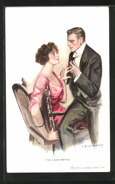Künstler-AK F. Earl Christy: Mann steckt seiner Verlobten den Ring an den Finger, The Love Match
