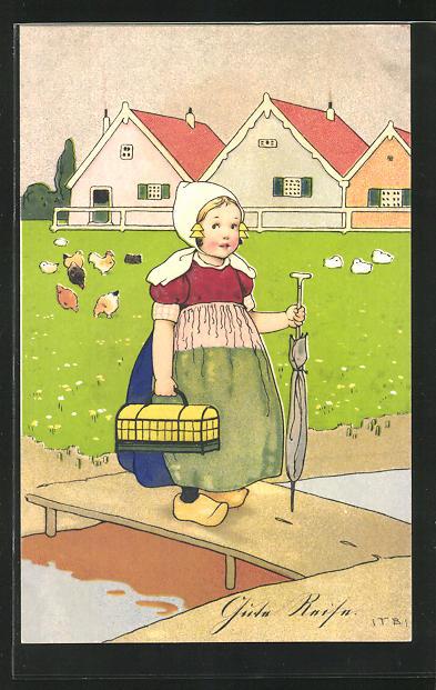 Künstler-AK Fritz Baumgarten: Mädchen mit Haube und Holzschuhen steht auf einem Steg