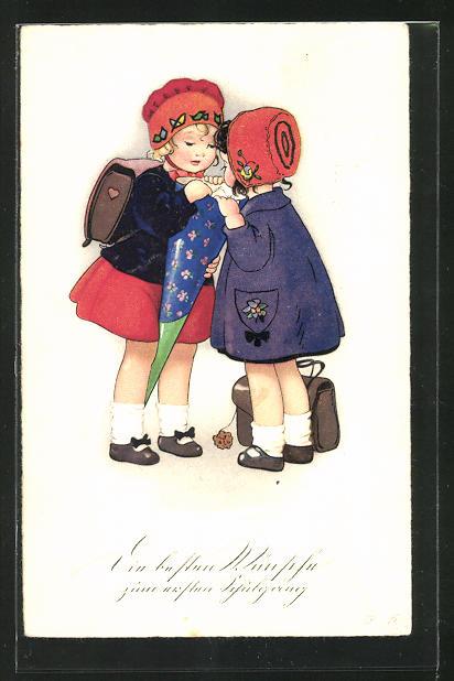 Künstler-AK Fritz Baumgarten: Mädchen schauen neugierig in die Schultüte, Glückwünsche zum ersten Schultag